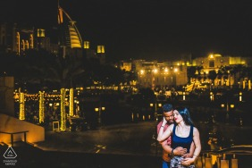 UAE couple e-session in Dubai above the urban city lights at night