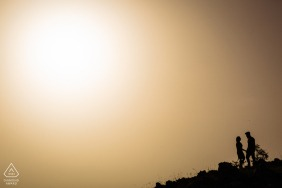 Monte Livata e-shoot in Italy with a Silhouette of the couple with only the sky above them