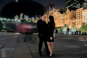 Chicago couple e-shoot in IL at night in the USA urban city scene