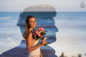 Maragogi couple e-shoot with a double exposure and a silhouette