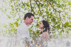 Salvador couple e-session in the trees while they are both looking at each other