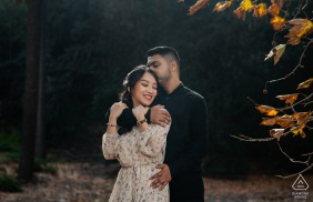 Western Australia bride and groom to be, posturing for a Perth engagement image in the lovely autumn colors