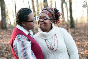 Georgia couple posturing for an engagement image at Panola Mountain Park