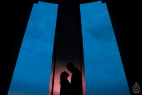 Montsec bride and groom to be, posing for a Montsec American Monument pre-wedding engagement photo shoot with some Love at night and a cobra