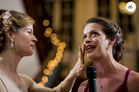 Josephine Butler House, Washington, DC wedding | MaryLyle wipes away her sister's tears during speech.