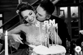 Foto di nozze di San Juan Islands, Washington dello sposo che bacia la sua sposa mentre lei taglia la torta nuziale