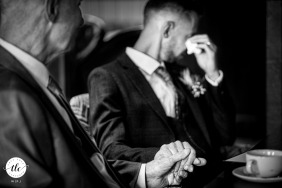 Groom and dad have emotional moment | The Bell, Broughton, Shropshire wedding day image