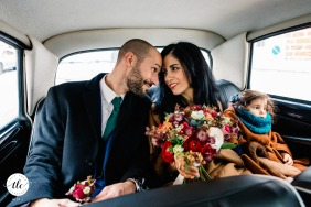 Lille France wedding image showing that Love is in the car while going to the reception