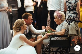 Wethele Manor, UK wedding reportage image of a couple and grandma