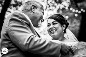 La Estancia Bella Bride with dad in a warm wedding photo