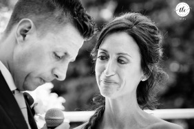 Castello di Cernusco Lombardone real wedding moment captured of the promises in the eyes of the bride you can see all the love she feels for what after a few moments will be her husband