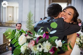 San Francisco Documentary wedding image of the happiest hug after the ceremony