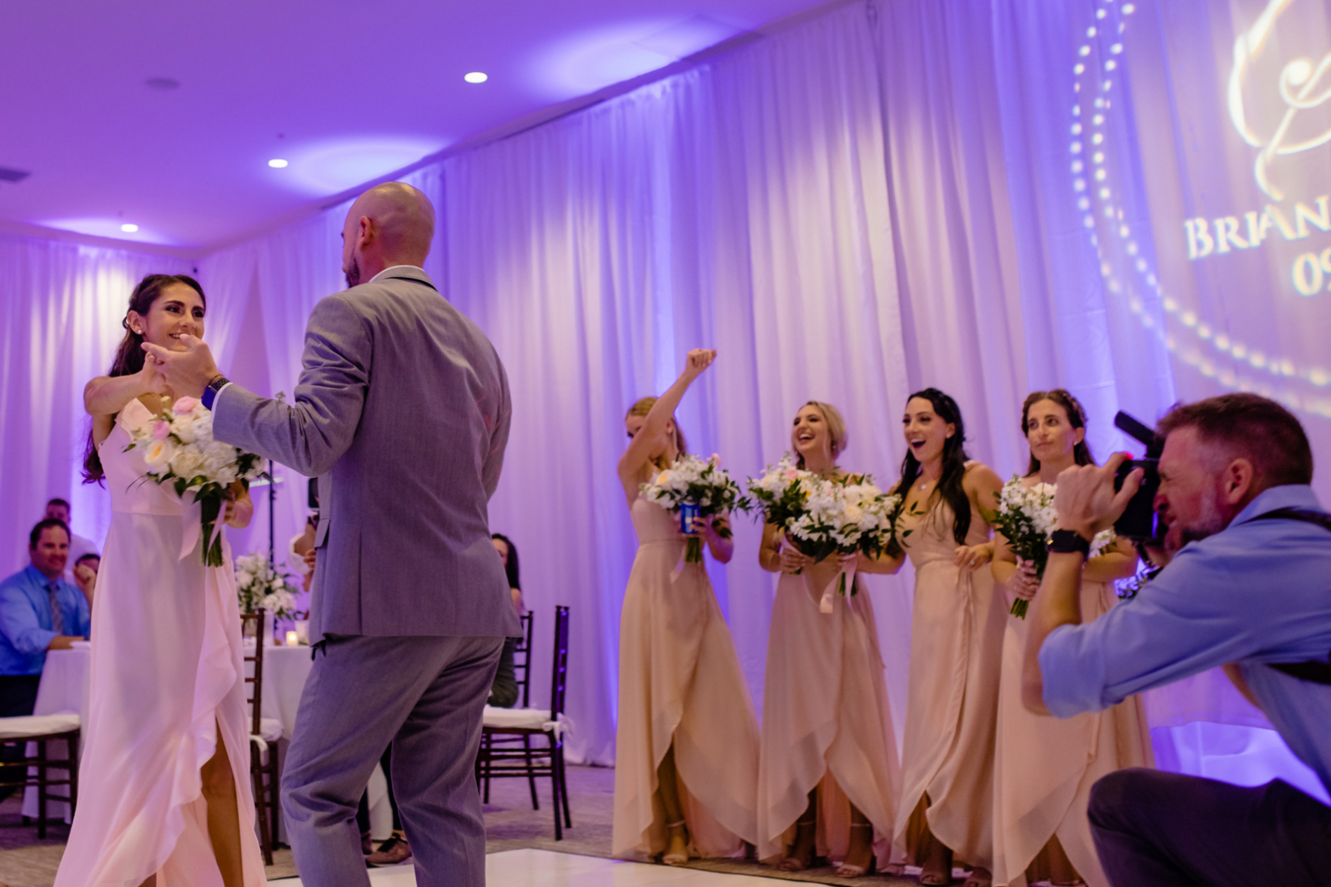 NC wedding photographer Michael Freas at work at an Asheville reception dance floor