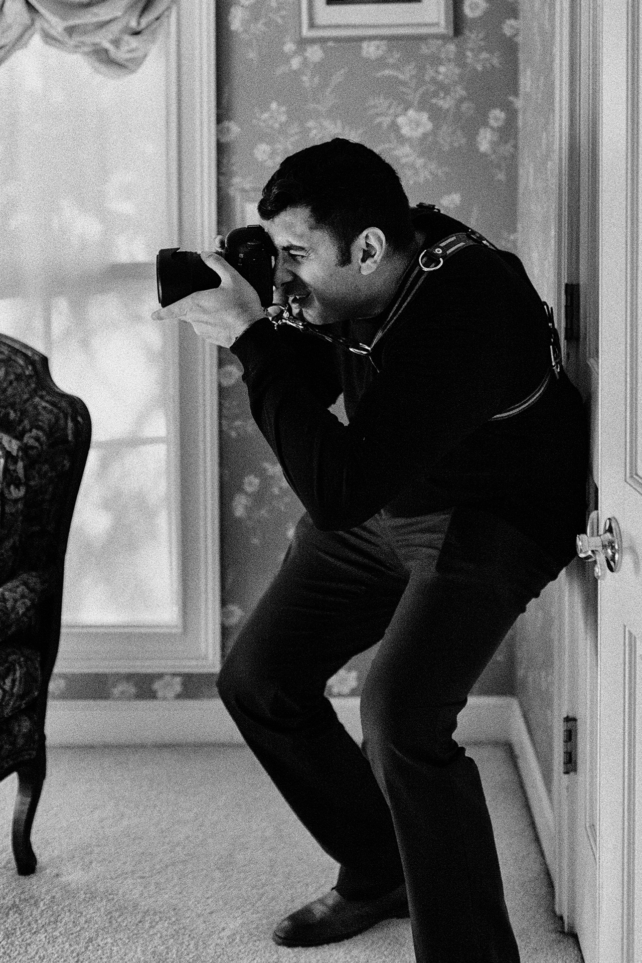 Gagan Dhiman, a CA wedding photographer working the angles at an event