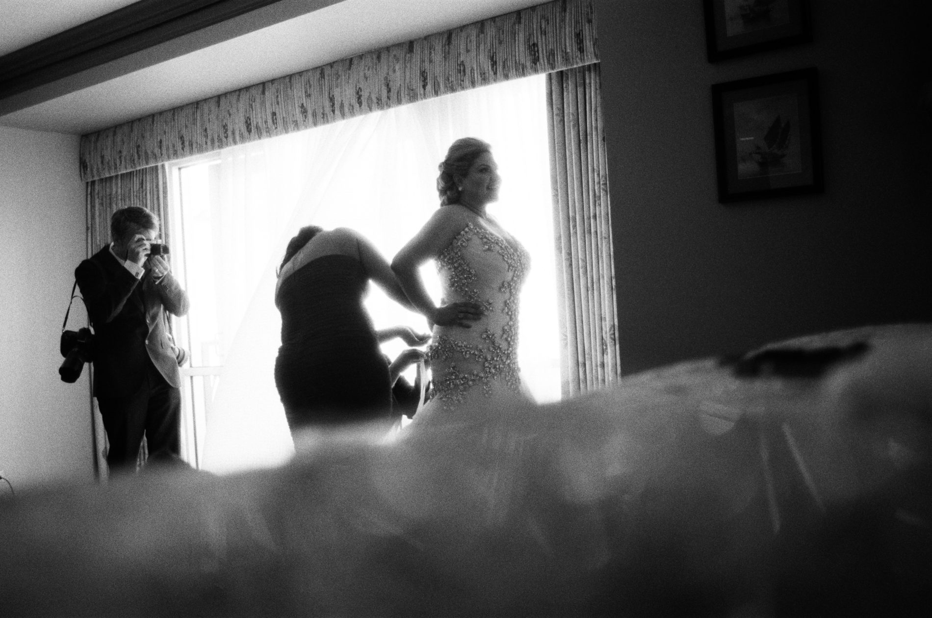 Philip Thomas photographing a bride on her wedding day at The Menger Hotel, San Antonio, Texas.