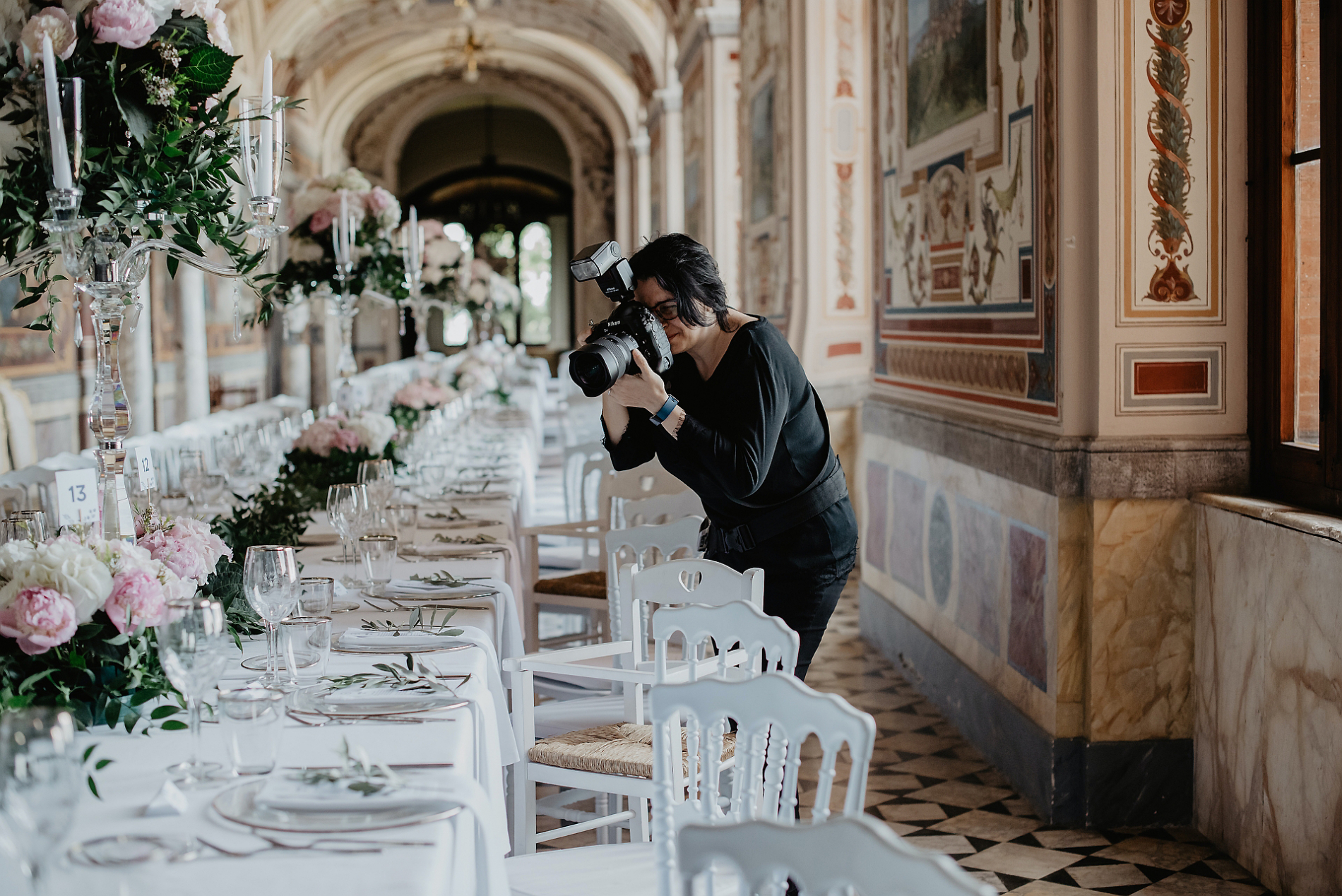 Wedding photographer taking table pictures at Torre Alfina Castle - Orvieto