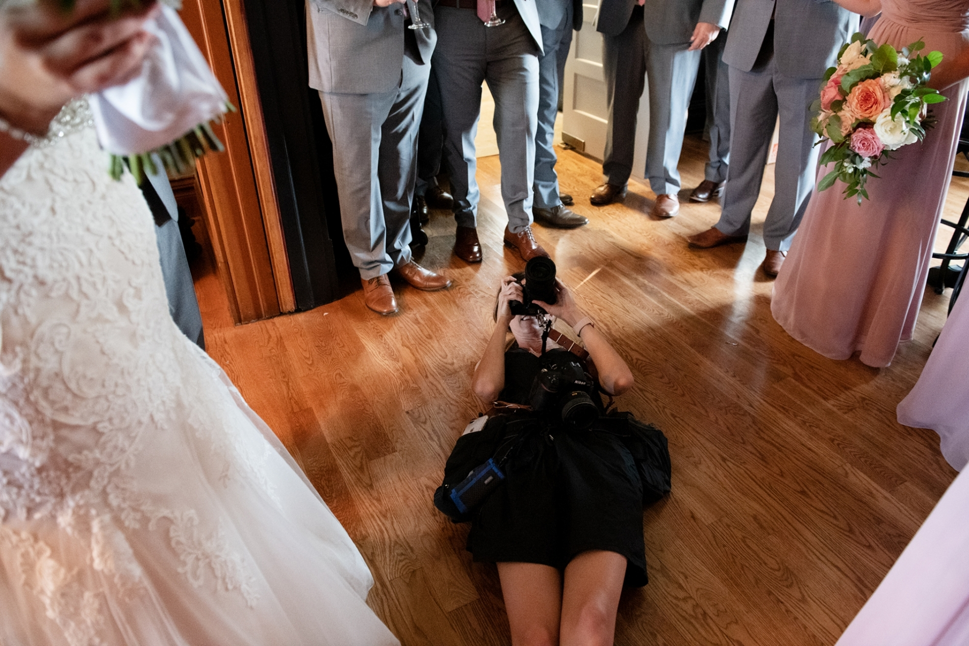 Overland Park Kansas photographer working at a wedding.
