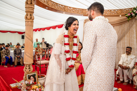 Hindu wedding ceremony photography from an event under a tent