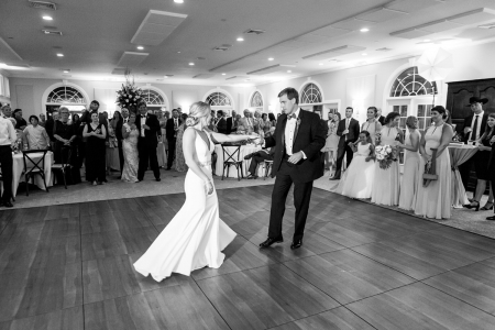Wachesaw Plantation, Murrells Inlet, SC BW wedding image of the bride and groom dancing together