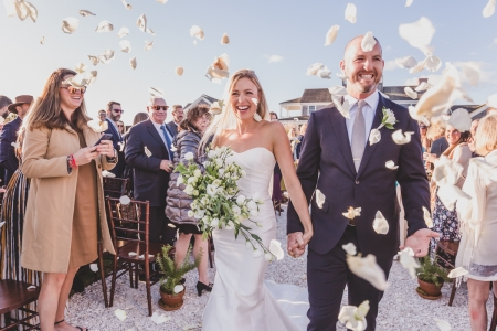 Wedding photography of the Ceremony at the Groom's home in Madaket on Nantucket Island