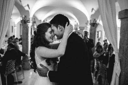 Villa Fenaroli Palace Hotel, Bergamo, Italy wedding venue image of the bride and groom in a romantic embrace