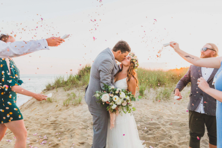 Madaket Beach, Nantucket wedding photography from a seaside, shore elopement