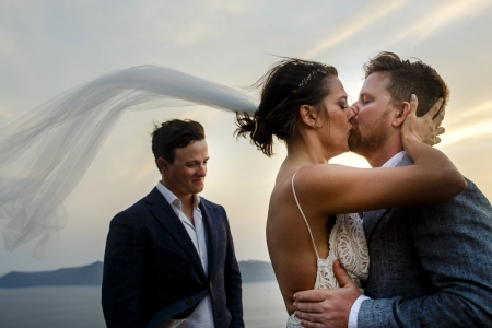 santorini wedding photo - a rocky hill on the island - santorini - greece wedding photographer