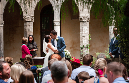 Sorrento wedding image of the ceremony kiss in Italy