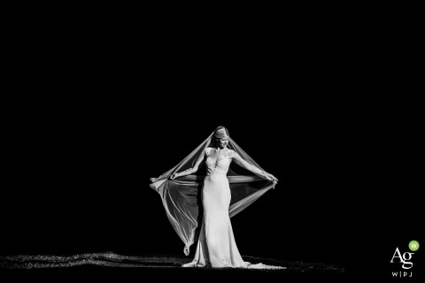 North Hamptonshire Wedding Reportage Photographer for Bridal Portraits | Image contains: bride, portrait, black and white, veil, dress