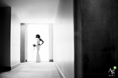 Phoenix Wedding Photography | Image contains: black and white, bride, bouquet, portrait