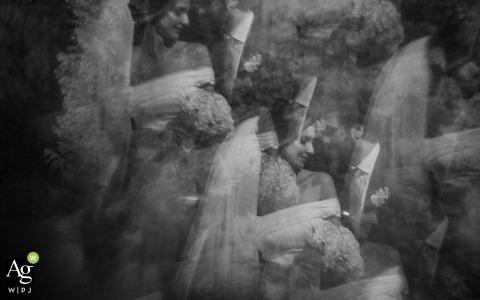 Rio Grande du Sol Wedding Photography | Image contains: black and white, portrait, bride, groom, reflection, embrace, bouquet