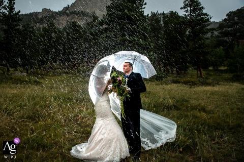 Della Terra Wedding | Estes Park Wedding Photos under umbrellas in the rain on the grass