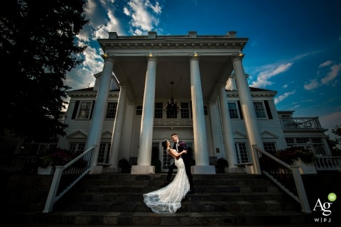 Manor House Wedding | Denver Wedding Photograph of bride and groom on the steps outside
