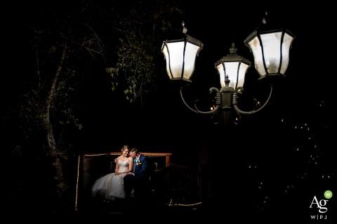 Wedgewood Boulder Creek Wedding Portrait of Bride and Groom under lights