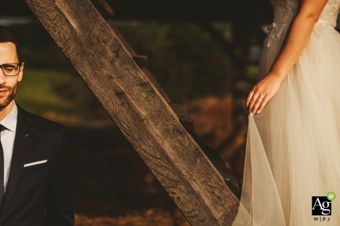 A rustic outdoor marriage photograph in Slovenia.