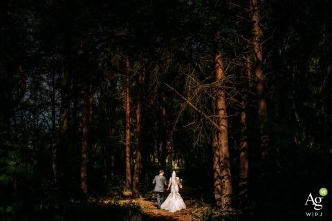 bride and groom walking in the woods at nunsmere hall - sunset portrait in the trees