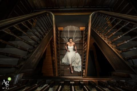 亞伯大加拿大藝術新娘的藝術性的婚禮畫像台階的。