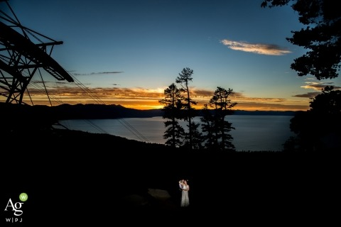 lake tahoe wedding photographer, lake tahoe photographer, bride and groom, far away portrait by the lake