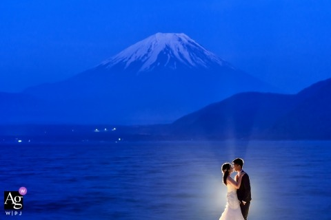 Lit Portrait at Fuji of Bride and Groom | Artistic Wedding Photos