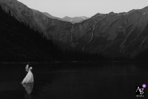 Montana Artistic Wedding Portrait of Bride and Groom Walking in the Mountains
