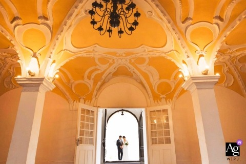 wedding photography portrait of Slovenia bride and groom in arched doorway