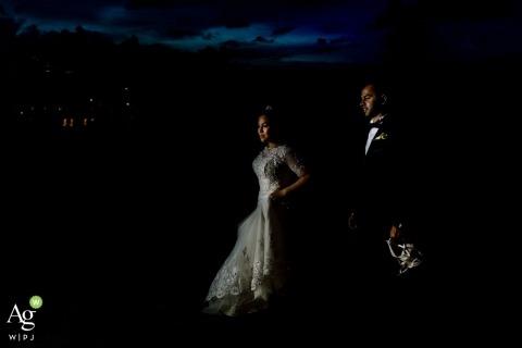 Sri Lanka Wedding Photographer | Image contains: bride, groom, dress, suit, portrait, night