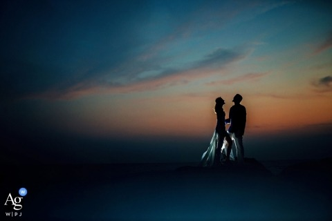 Sri Lanka couple pose for a sunset portrait after their wedding