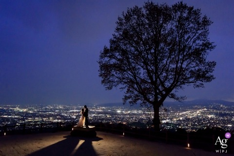 wedding photography portrait of Taiwan bride and groom with city lights as backdrop