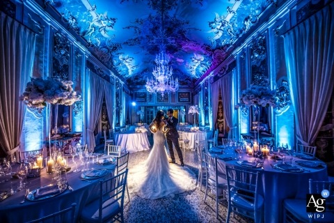 Lecco Artistic Wedding Photography | Bride and Groom inside reception venue before guests arrive