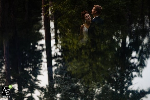 Missoula Wedding Photographer | Image contains: bride, groom, water, reflection, portrait, trees, nature, outdoors