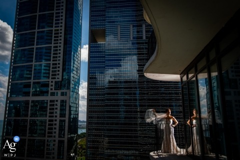 Illinois Artistic Wedding Photo | Bridal Portrait with City Buildings and the Wind