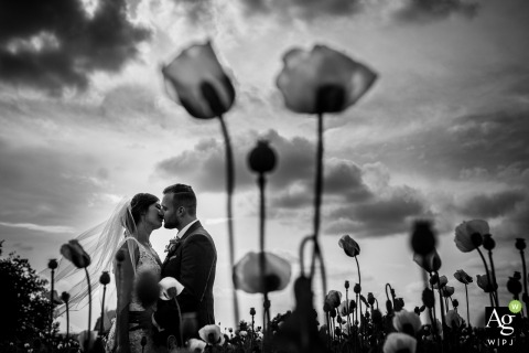 The Prague outdoor scenery brings this wedding photo in focus for the perfect image of the couple