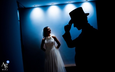 creative and artistic wedding pictures by Murcia photographer of bride and groom with top hat