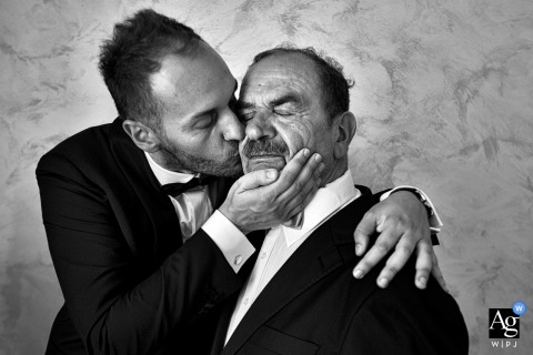 Reggio Calabria Artistic Wedding Photo of Wedding Day Kiss in Black and White